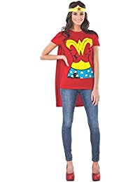 rubies dc comics wonder woman t shirt with cape and headband red large