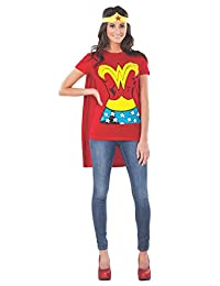 Rubie's Costume Dc Comics Wonder Woman T-Shirt with Cape and Headband, Red, Small Costume