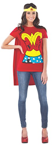 DC Comics Wonder Woman T-Shirt With Cape And Headband, Red, Large (Large Head Halloween Costume)