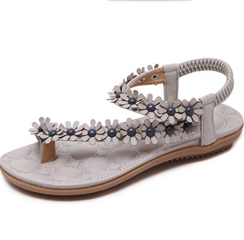 Gris à Femmes Fleurs Boucles Chaussures à Summer Décoratives New Bas Talons Talons Sandales Sandales XIAOQI Sandales Bohème Bas TfUTrnq