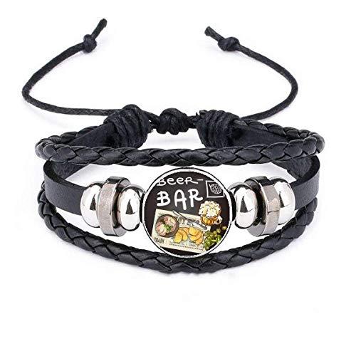 DIYthinker Steak Bar France Toast Beer Bracelet Braided Leather Rope Bead Wristband