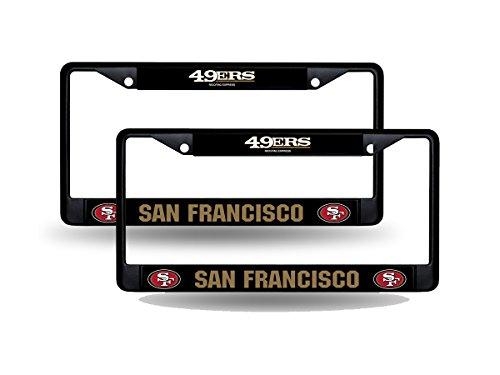 Rico San Francisco 49ers NFL Black Metal (2) License Plate Frame Set