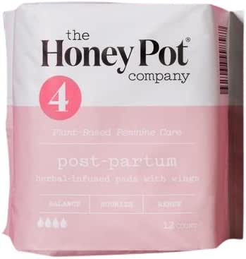 The Honey Pot Postpartum Feminine Pads with Wings, Herbal All Natural, for women after birth, (12 Count)