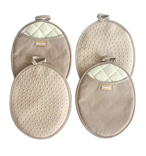 Honla 4-Piece Oval Pot Holders with Pockets - Heat Resistant to 500° F,Flexible Non-Slip Silicone Grip Hot Pads,Tan/Khaki
