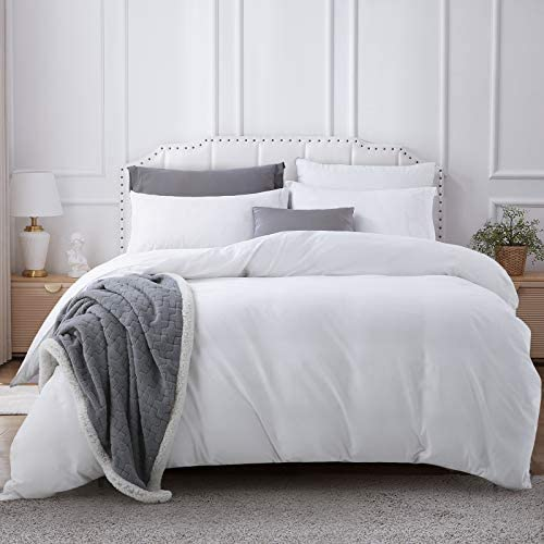 Cooldex 3pc Duvet Cover Set Queen Size 100% Washed Cotton with Zipper Closure & Corner Ties,Hotel Quality Wrinkle and Fade Resistant, Ultra Soft and Easy Care(Queen,White)