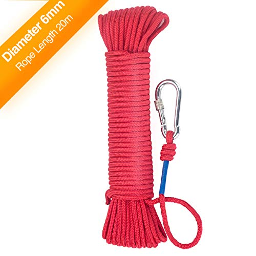 Wukong Fishing Magnet Rope w/Carabiner, 6MM x 20M(65ft) Nylon Twisted Braided Rope,550 Lbs Breaking Strength All-Purpose Braided Rope Sports, Pet Toys, Crafts & Indoor Outdoor Use ()