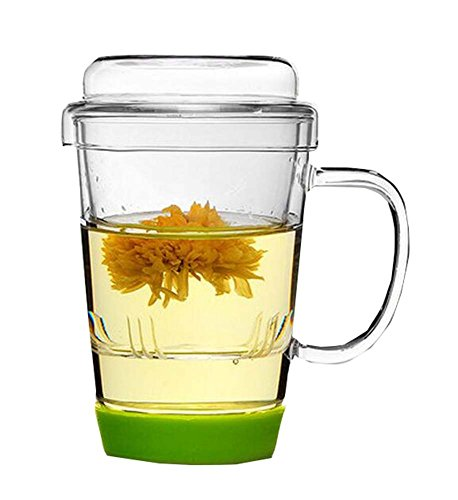 East Majik Glass Filtering Tea Maker Flower Tea Mug/Cup 450 - Filtering Tea Mug