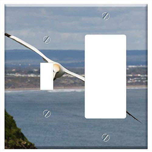 (1-Toggle 1-Rocker/GFCI Combination Wall Plate Cover - Gannet Flight Soar Glide Bird White Northern)