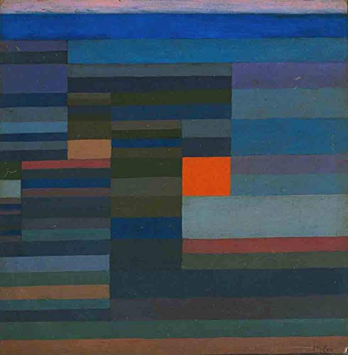 Price comparison product image JH Lacrocon Fire in The Evening 1929 by Paul Klee - 115X120 cm (Approx. 46X48 inch) Abstract Paintings Rolled Canvas Handpainted Reproduction Wall Art for Living Room