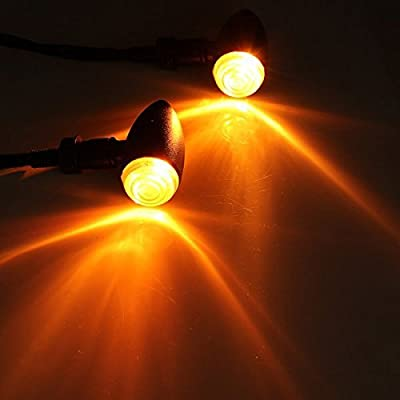 Justech 4PCS Motorcycle LED Turn Signal Indicator Amber Motorbike Indicators Blinker Lights (Black Larger Type): Automotive