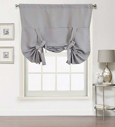 Window Rose Adjustable Tie-up Shade Blackout Small Window Curtain for bedroom / living room – Highly Shading Panel, Thermal Insulated Solid Rod Pocket, 1 Piece, 42 by 63 inch, color Grey