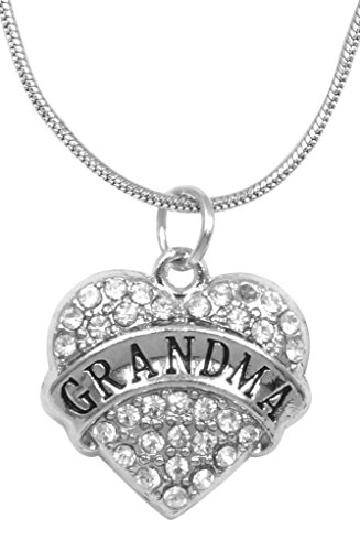 for Grandma Necklace Engraved Gift Jewelry for Grandma Crystal Adorned Heart Shaped Pendant Snake Chain Necklace Gift for Mom or Grandma Colorless