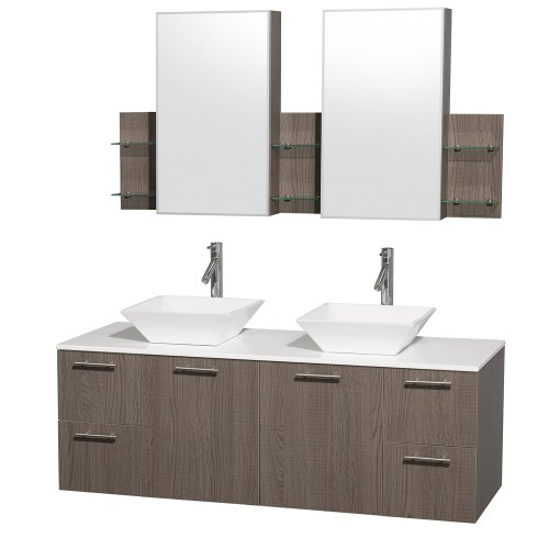 Wyndham Collection Amare 60 inch Double Bathroom Vanity in Grey Oak with White Man-Made Stone Top with White Porcelain Sinks, and Medicine Cabinets