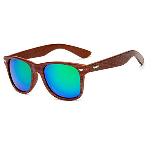 LongKeeper Wood Sunglasses for Men Women Vintage Real Wooden Arms Glasses (Brown, - Grain Sunglasses Wood