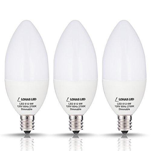LOHAS Candelabra Bulbs, 60Watt Equivalent LED Candelabra Light Bulbs, Dimmable 6 watt LED Candelabra E12 Base Warm White 2700k, 550lm, 180 Degree Beam Light Bulb, 3Pack