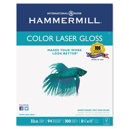 Hammermill Color Laser Gloss Paper, 94 Brightness, 32lb, 8-1/2 x 11, White, 300 Sheets/Pack