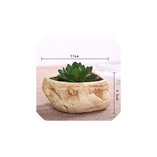 Asteria-Ashley Stone Flower Pot Creative Ceramics Succulent Plants Flower Pot Desktop Garden Home Decoration,10