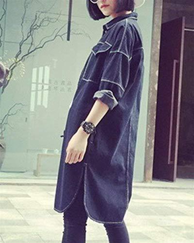 Donna Denim Lunghi Maniche Mieuid Chic Primaverile Jeans Lunghe Outerwear Nero Giacca Relaxed Fashion Streetwear Cute Stile Cappotto Autunno Elegante Casual Schwarz fdqpqW