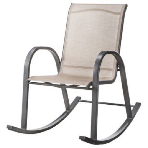 amazoncom room essentialstm nicollet sling patio rocking chair tan lawn garden outdoor yard veranda furniture features sling style seat rocking - Patio Rocking Chairs