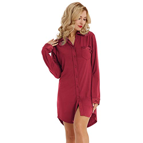 Zexxxy Ladies Cotton Nightshirt Long Sleeve V Neck Solid Short Pj Gown Wine Red S