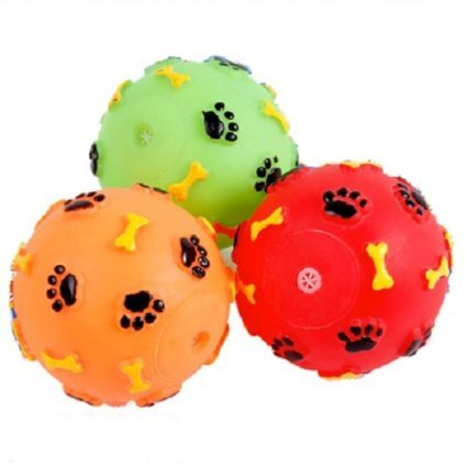 Ellami 3pcs New/cute 2.5″ Diameter Paw/bone Pattern Red/orange/green/blue/yellow Rubber Ball Squeaky Chew Toy for Pet Dog Puppy Cat Kitten(random Color)