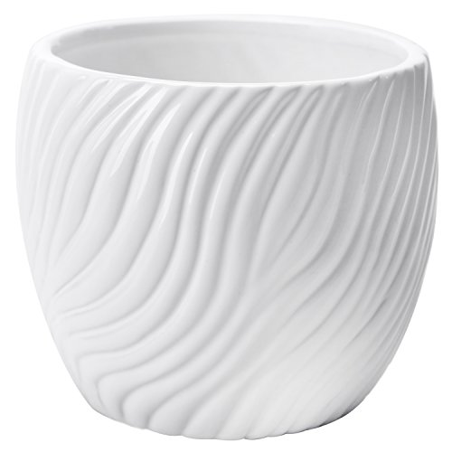 Pot White Porcelain Flower (4.5 Inch White Ceramic Textured Swirl Design Flower Planter Vase, Small Succulent Plant Pot)