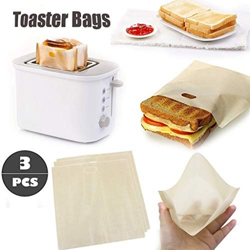 ️ Yu2d ❤️❤️ ️3Pcs Toaster Bags Reusable for Grilled Cheese Sandwich Non-Stick Heat Resistant]()
