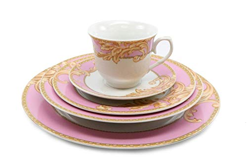 Italian Design Byzantine 49 pcs Porcelain Dinnerware Set Serice for 8 - Pink Gold Floral