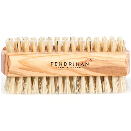 Fendrihan Dual Sided Olivewood Nail Brush with Pure Boar Bristles 3.7'' (Made in Germany) by Fendrihan
