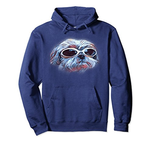 Shih T-shirt Sweatshirt - Unisex Shih Tzu Hoodie Neon Dog Sunglasses Hooded Sweatshirt Medium Navy