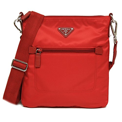 Prada BT0716 Tessuto Nylon Leather Cross-Body Messenger Bag Red (Prada Tessuto Messenger)