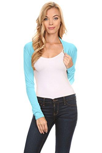Blue Shrug - Simlu Long Sleeve Bolero Shrug for Women Reg and Plus Size- Made in USA (Size Large, Sky Blue)