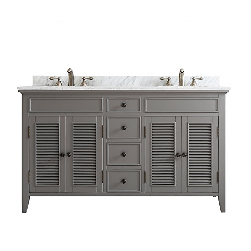 Vinnova 708060-GR-CA-NM Modern Piedmont 60 inch Double Vanity In Grey with Carrera (Piedmont Counter)