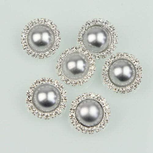 Clear Crystal Rhinestone Pearl Shank Buttons Silver Sewing Crafts