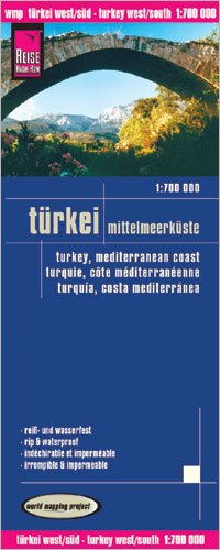 Turkey Mediterranean Coast & Cyprus 1:700,000 Travel Map, waterproof, GPS-compatible REISE, 2012 edition
