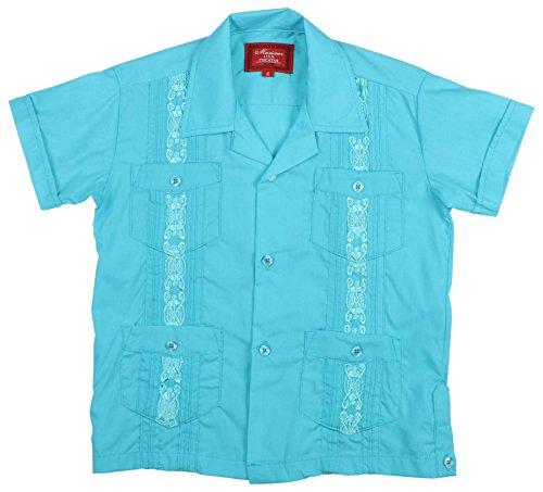 (9 Crowns Essentials Boys' Guayabera Button Down Shirt (Atoll Blue, 7))