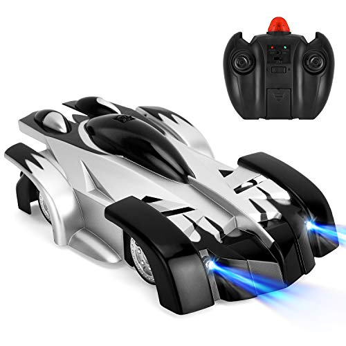GotechoD Remote Control Car Gravity Defying RC Car Kids Toy 360° Rotation Stunt Car LED Head Gravity, Rechargeable RC Wall Climber Car for Boy Girl Birthday Present Black