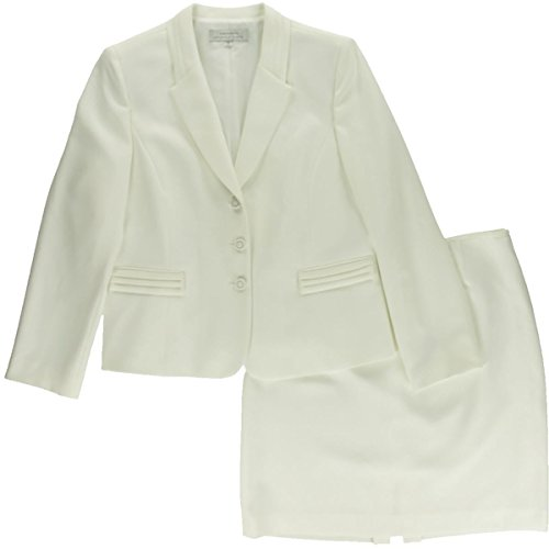 (Tahari by ASL Pearl White Women 4 Petite Two-Piece Skirt Suit Set)