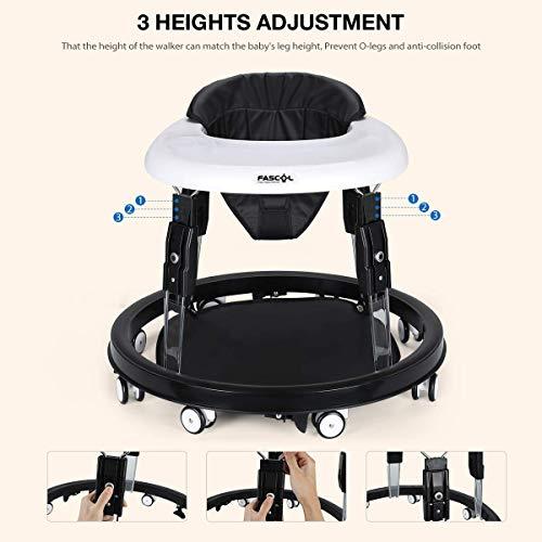 Fasco Andador Bebe,Plegable Caminador con Plato Desmontable y 8 Ruedas Silenciosas para Bebes Mayores de 8 Meses