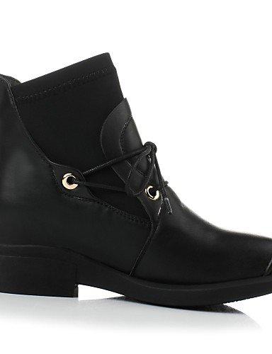 Punta Satén Casual Vestido Eu35 us5 negro Semicuero us5 Redonda Black A Xzz Uk3 Zapatos Mujer Robusto Tacón La Moda Brown De Cn34 Botas Elástico qooXPw7O