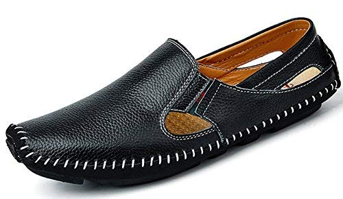 TSIODFO Men Leather Driving Shoes Fashion Slippers Casual Slip on Walking Loafers Shoes Summer (932-black-45)