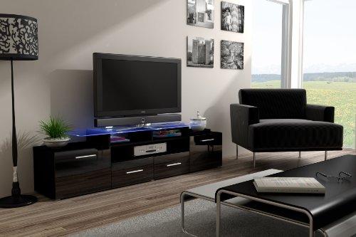 Amazon.com: Concept Muebles Enea Grand With Top Glass Shelf Tv Stand   High  Gloss Tv Cabinet/Design Furniture/Central Tv Unit (Black U0026 White): Kitchen  U0026 ...