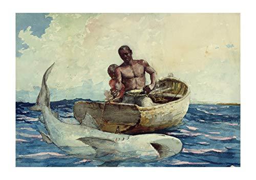 Winslow Homer - Shark Fishing - Medium - Archival Matte - Framed