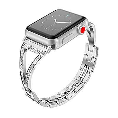 Glebo Compatible with Apple Watch Band 38mm/40mm 42mm/44mm Women Men, Stainless Steel Strap with Rhinestone Bracelet Cuff Replacement Band for iWatch Bands Series 4, Series 3, Series 2, Series1