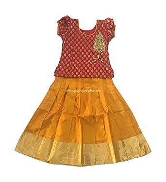 15bf00adb Pattu Pavadai Girl's Silk Skirt and Top, (5 Years, Red and Yellow ...