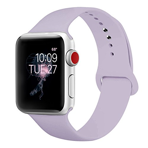ENANYN For Apple Watch Band 38mm Soft Silicone Sport Wrist Strap iWatch Replacement Bracelet Wristbands for Apple Watch Series 3,2,1 of Size S/M,Purple
