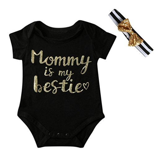 GBSELL Mother's Day Newborn Infant Baby Girl Boy Letter Romper + Headband Outfit Clothes (Black, 6-12 Month) (Mother's Day Packages)