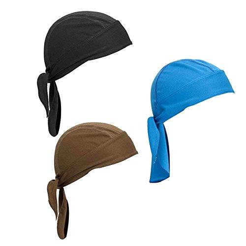 Netursho Sweat Wicking Beanie Cap Skull Cap Outdoor Head Wrap for Men and Women Pack of 3 Cycling Hat Motorcycle Biker Cap (Set - Head Skull Cap