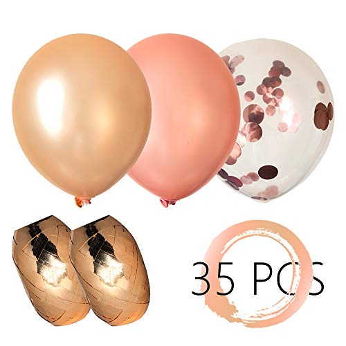 Mangi Life, Gold Rose, Pearly Champagne Metallic Balloons and Pre-filled Confetti Balloons, Great Decorations for Bridal Shower Party, Birthday and Annual Dinner, Pack of 35, 3 Style, 12 Inch