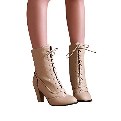 Mujer Mujeres Invierno Clásicas Altas Tacón Bota Martin Las La Beige Alto Otoño Con Botas Cordones Boots Cuero De Familizo 5vBqnptfww